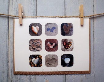 SALE Card, Beach Heart Images. Blank-inside with envelope. Found images. Get well, unique, love, congrats