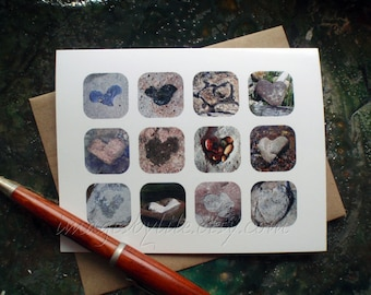 SALE Card, Rock Heart Images found in nature. Blank-inside with envelope. Valentine, love, unique, thinking of you.