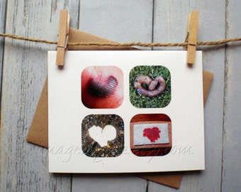 SALE Card, Gross Heart Images. Blank-inside with envelope. Found images. Funny, poop, blister, blood. Valentine, Birthday.