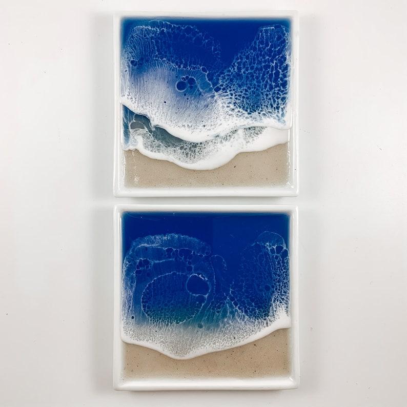 Dark Blue Resin Ocean Ring Dish