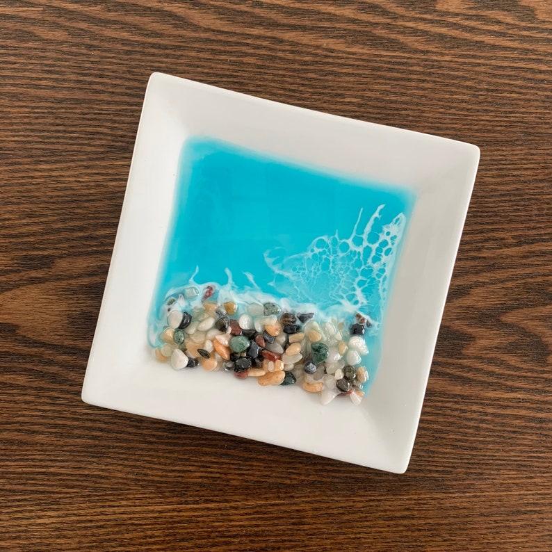 Small Pebble Beach Wide Square Trinket Dish