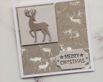 Handmade Christmas Card, Reindeer Card, Xmas Card