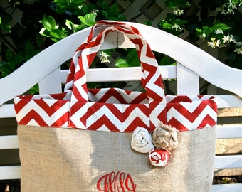 Red Chevron and Burlap Beach Tote- Custom Made to Order