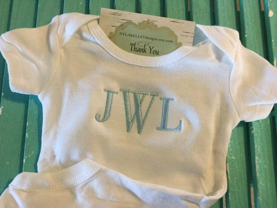 34839b488 1 White Newborn Cuffed Boy Girl Onesie Embroidered Custom