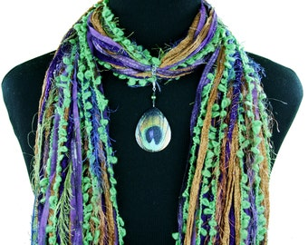 Peacock Feather Scarf, Peacock Jewelry Scarf, Feather Necklace Scarf, Boho Fringe Scarf, Multi-Colored Boho Scarf