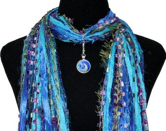 Peacock Pendant Scarf, Turquoise Green Purple, Peacock Necklace, Asian Scarf, Boho Art Scarf, Peacock Jewelry