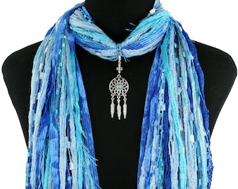 Dream Catcher Necklace Scarf, Dream catcher Pendant, Native American Scarf, Spiritual Scarf, Women's Gift Scarf, Several Colors Available