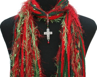 Christmas Red Green Cross Scarf, Holiday Necklace Scarf, Spiritual Scarf, Religious Scarf, Women's Gift Scarf, Free Shipping