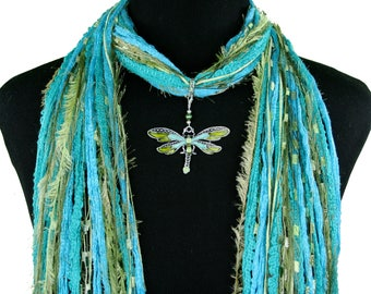 Dragonfly Jewelry Necklace Scarf, Turquoise Green, Boho Scarf, Mother's Day Gift , Fringe Scarf, Unique Women's Gift