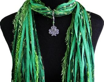 Celtic Knot Shamrock Scarf Necklace, St Patrick's Day , Green Irish Clover Pendant, Detachable Charm Option