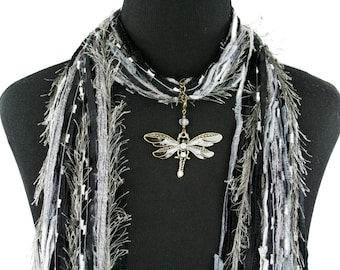 Dragonfly Necklace Scarf, Black Gray Scarf, Dragonfly Jewelry Pendant, All Season Scarf, Detachable Pendant Option, Free Shipping