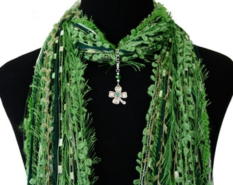 St Patrick's Day Green Shamrock Scarf Necklace, Jewelry Scarf, Irish Scarf, Clover Necklace Scarf, Detachable Pendant Option