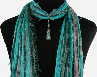 Art Deco Style Necklace Scarf, Turquoise Gray, Detachable Pendant Option, Free and Fast Shipping