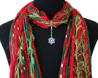 Silver Snowflake Necklace Scarf, Red Green Christmas Scarf, Holiday Jewelry Accessory, Detachable Pendant Option