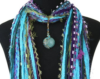 Peacock Scarf Necklace, Turquoise Green Purple, Peacock Pendant, Asian Scarf, Boho Art Scarf, Peacock Jewelry