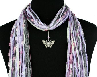 Butterfly Jewelry Scarf, Butterfly Scarf Necklace, Butterfly Pendant Charm, Lilac Gray Scarf, Beige White Scarf, Summer Scarf, Green Scarf