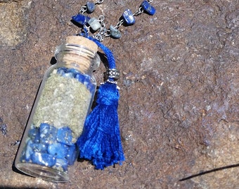 Third Eye Chakra Single Stone and Herb Bottle  Necklace