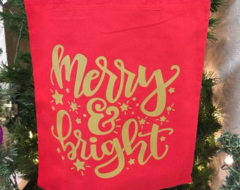 Merry and Bright Tote Bag - Merry and Bright Gift - Christmas Tote - Christmas Gift - Shopper Gift - Holiday Gift - Red Tote Bag - Red Tote