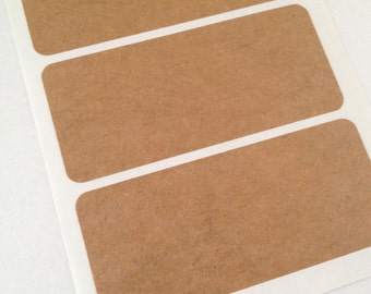 Rectangular Kraft Paper Sticker Labels Set of 12 - Blank Labels - Write On Labels - Kraft Labels - Kraft Tags