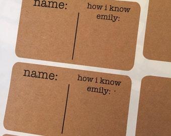 Bridal Shower Name Tag Sticker - Kraft Name Tag - Baby Shower Name Tag - Party Name Tag - Personalized Name Tag- Wedding Name Tag - Nametag