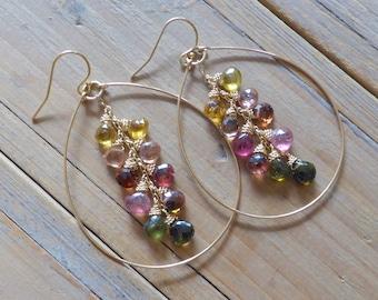 Mixed Rainbow Tourmaline & 14k Gold Filled Teardrop Hoop Earrings