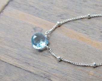 Sky Blue Topaz Drop Pendant and Silver Necklace