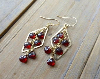0c64c33c8136 Hammered Golden Diamond Drops with Red Garnet Earrings