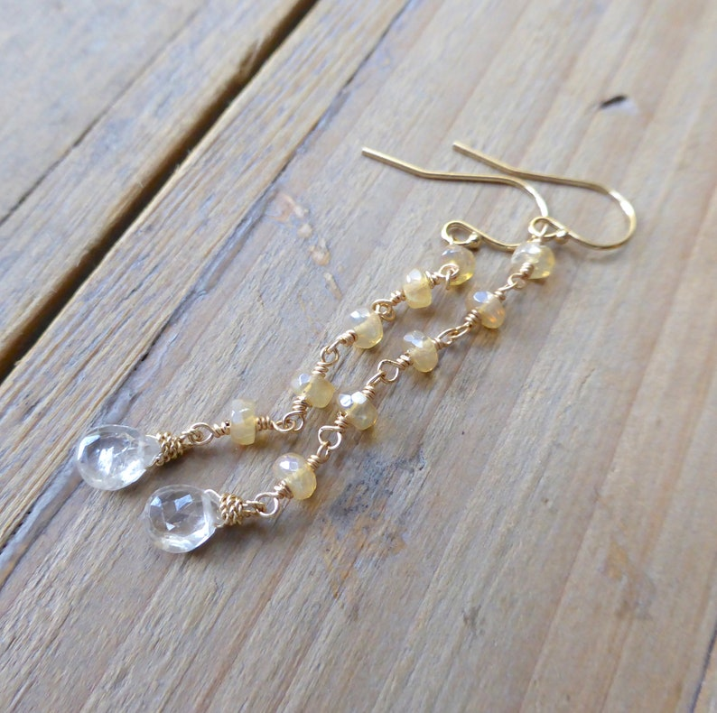Opal and Champagne Zircon Drop Gold Earrings image 0