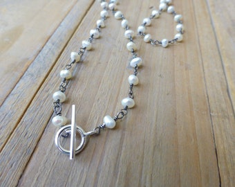 Pearl Rosary Wrapped Toggle Necklace in Oxidised Silver