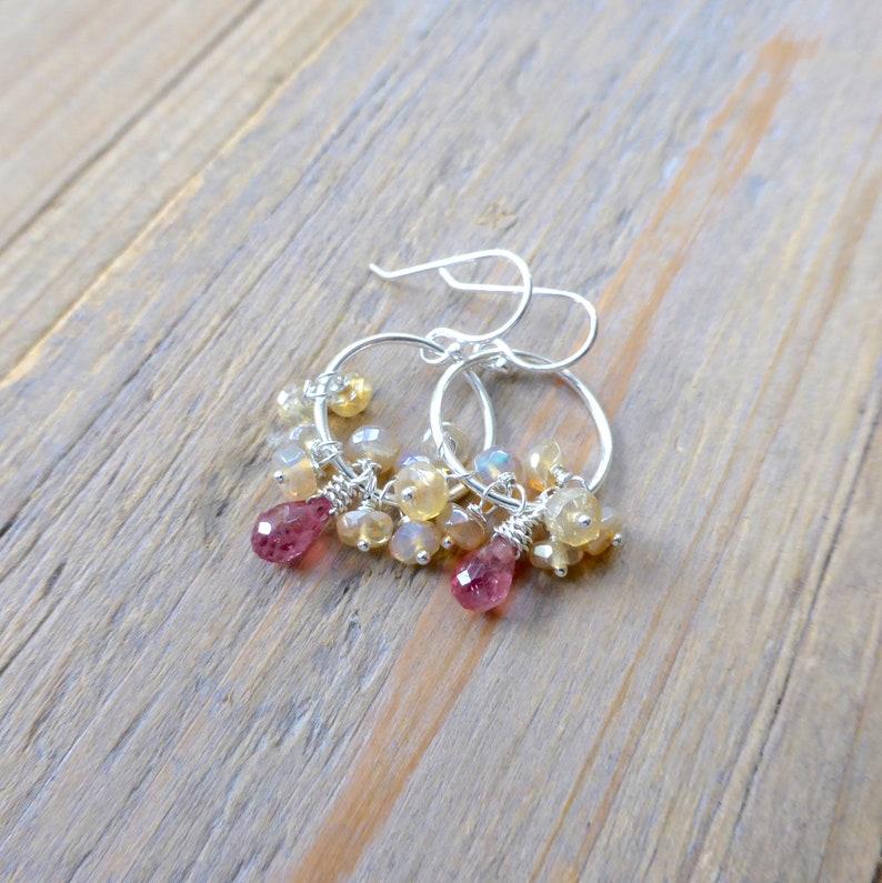 Opal Fringe with Pale Pink Spinel Drop Chandelier Fringe image 0