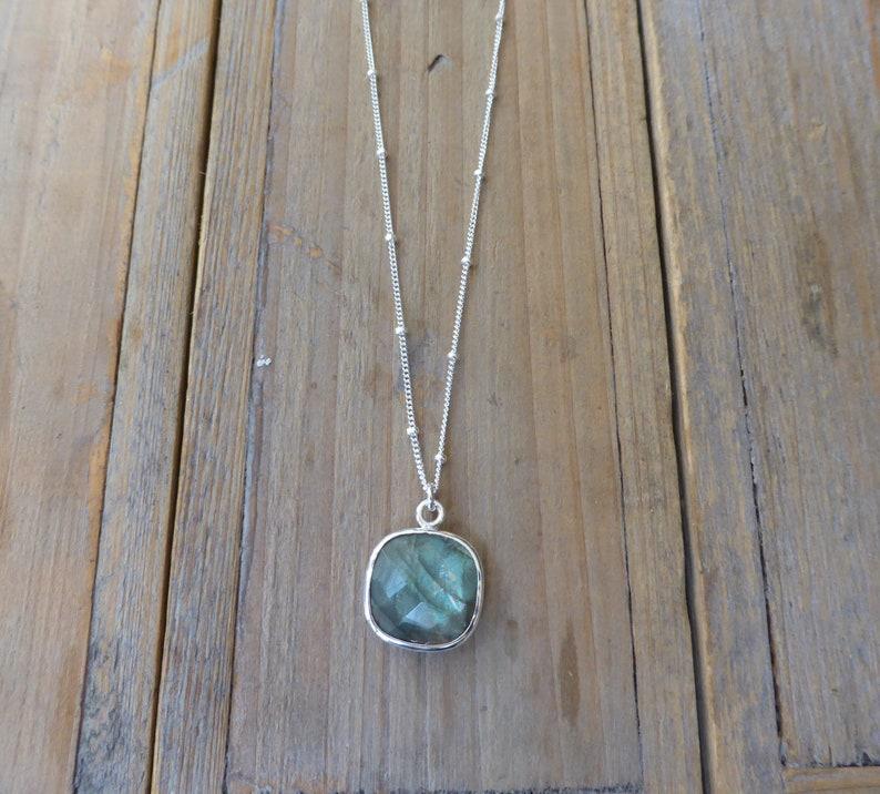 Sterling Silver Square Checkerboard Labradorite Pendant on image 0