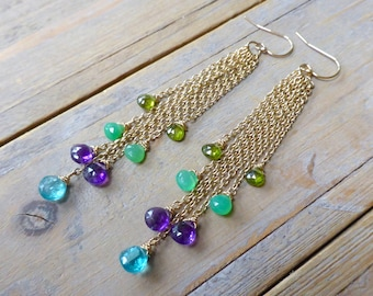 Party at Your Ears Mixed Gemstone Dangler Earrings