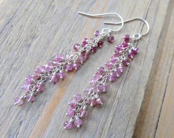 Grapevine Cascade Ombre Pink Tourmaline Sterling Silver Earrings