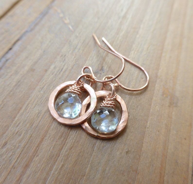 Pale Icy Aquamarine Briolette Drop Rose Gold Washer Earrings image 0