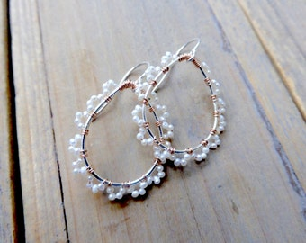 Pearl Teardrop Lace and Silver and Rose Gold Earrings