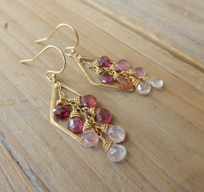 Hammered Golden Diamond Drops with Ombre Pink Tourmaline Drop image 0