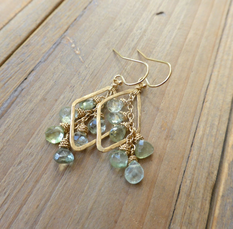 Hammered Golden Diamond Drops with Pale Green Tourmaline Drop image 0