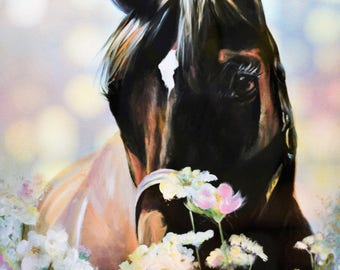 SMELLING THE FLOWERS equine art print from original acrylic painting horse giclee print home decor flowers bay thoroughbred horse