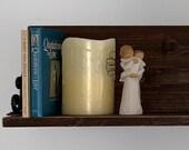 Rustic Dark Walnut Wall Shelf Cast Iron Brackets Home Decor Solid Wood
