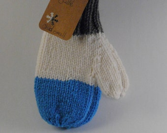 Ready made : light blue color block mittens (Child small)