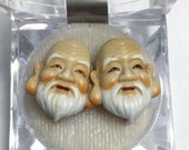 Toshikane Style Seven Lucky Gods Fukurokuju Head Screw Back Earrings ( 10)