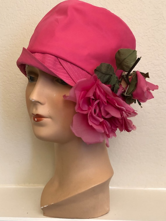 1920's style Pink Flapper Cloche Hat