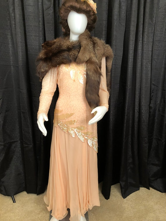 1940's Style Beaded & Sequined Peach Evening Gown.