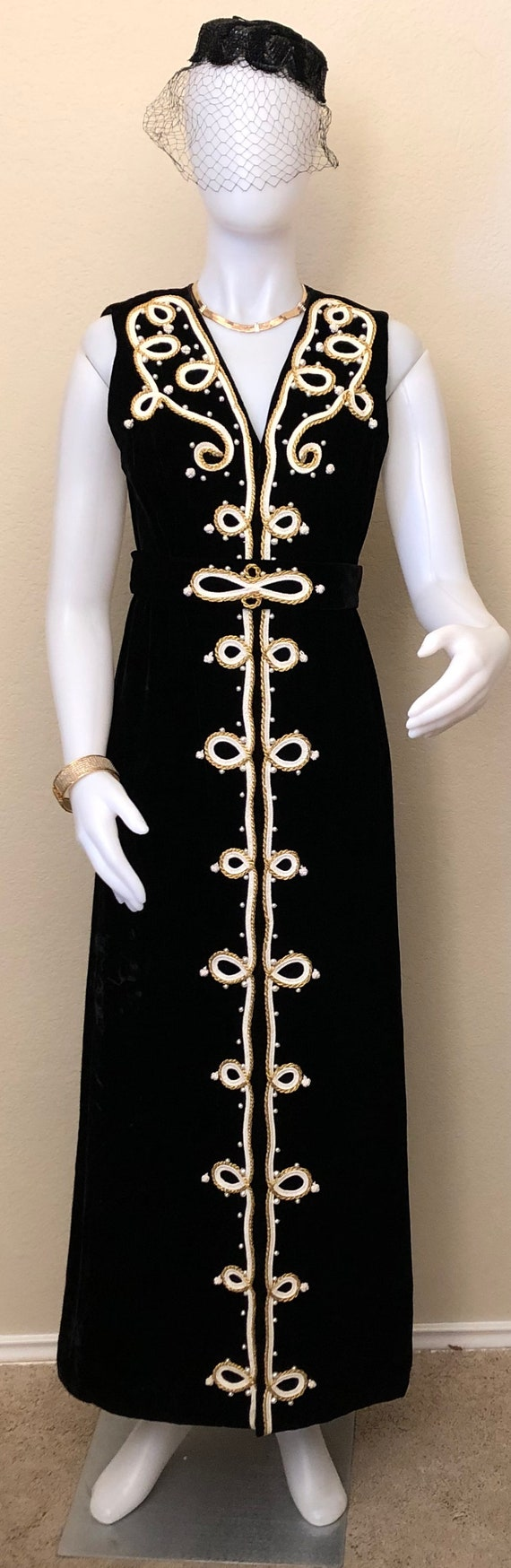 1950's to 1960's Black Velvet Evening Gown