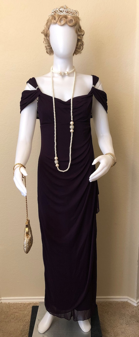 Downton Abbey 1920's Style Plum Evening Dress