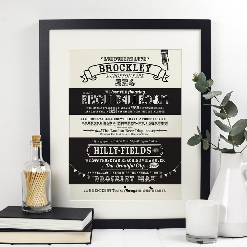 Brockley location print, Brockley poster, Brockley print, SE London poster,  Gift under 20, gift for her, gift for him, wall art, house gift