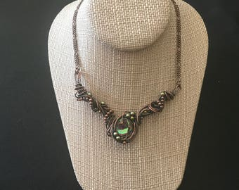"""Aura Quartz with Swarovski Pearls wrapped in copper and antiqued for interest and depth.  Approx 16"""" Necklace but can be sized to fit you."""