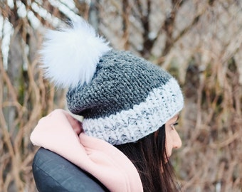 96423d14c2b5a White Marble and Grey Chunky Knit Hat with White Pom Pom - Ready to Ship