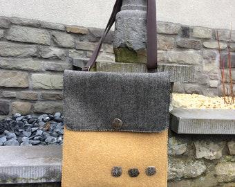 Ochre yellow boiled wool bag