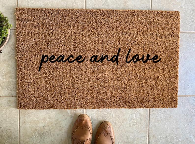 Peace and love doormat  peace doormat  love doormat